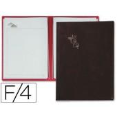 Porta menus pardo 4 bolsas com laminas litografadas preto