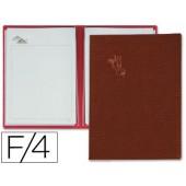 Porta menus pardo 4 bolsas com laminas litografiadas castanho