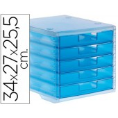 Ficheiro gavetas de secretaria liderpapel 340x270x255 mm empilhaveis 5 gavetas azul mar translucido