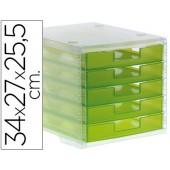Ficheiro gavetas de secretaria liderpapel 340x270x255 mm empilhaveis 5 gavetas verde kiwi translucido