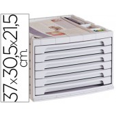 Bloco classificador de secretaria liderpapel 37x30.5x21.5 cm bandeja organizadora superior 6 gavetas cinza opaco