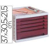 Bloco classificador de secretaria liderpapel 37x30.5x21.5 cm bandeja organizadora superior 5 gavetas bordeaux opaco