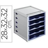 Bloco classificador de 5 gavetas em plastico. azul indigo