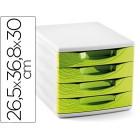 Ficheiro gavetas de secretaria cep 265x368x300 mm 4 gavetas cor verde