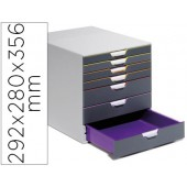 Fichero de gavetas de secretaria durable varicor empilhaveis 7 gavetas plastico 292x280x356 mm