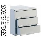Ficheiro gavetas de secretaria archisystem 356x316x303 mm 3 gavetas cor cinza