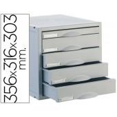 Ficheiro gavetas de secretaria archisystem 356x316x303 mm 5 gavetas cor cinza 4 de 52mm e 1 de 22mm