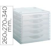 Fichero gavetas de secretaria archivo 2000 260x270x340 mm empilhavels 5 gavetas transparente translucido