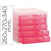 Ficheiro com gavetas de secretaria archivo 2000 260x270x340 mm empilhaveis 5 gavetas rosa translucido