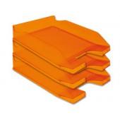 Tabuleiro secretaria plastico q-connect. laranja transparente