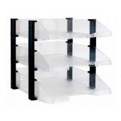 Tabuleiros secretaria archivo 2000 plastico transparente com elevadores preto conjunto de 3 tabuleiros 280x285x350 mm