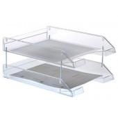 Tabuleiro de secretaria archivo 2000 plastico transparente cristal 340x260x60 mm