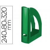 Porta revistas liderpapel plastico verde opaco