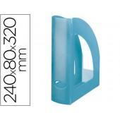 Porta revistas liderpapel plastico azul translucido
