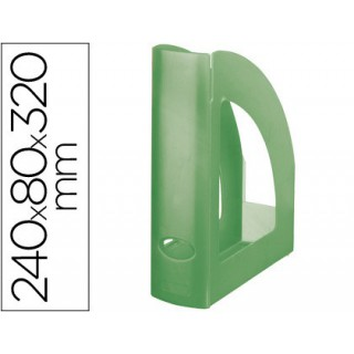 Porta revistas liderpapel plastico verde kiwi translucid