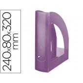 Porta revistas liderpapel plastico violeta translucido