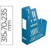 Porta revistas de plastico. com identificacao. azul