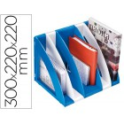 Organizador cep vertical modular com 5 compartimentos em plastico cor branco e azul 220x220x300 mm