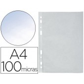 Bolsa catalogo multiperfurada q-connect din a4 100 mc cristal bolsa plastico 100 unidades