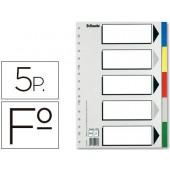 Separador esselte de plastico conjunto de 5 separadores folio com 5 cores multiperfurado