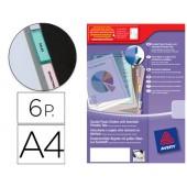 Separadores avery de plastico com 6 pestanas de indice personalizavel formato a4