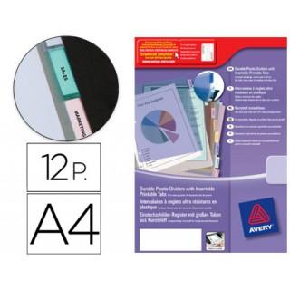 Separadores avery de plastico com 12 pestanas personalizavel formato a4