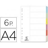 Separadores de cartolina. q-connect. a4. 6 separadores