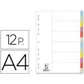 Separadores de cartolina. q-connect. a4. 12 separadores