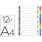 Separador exacompta cartolina branco conjunto de 12 separadores pestanas coloridas a4 multiperfurado