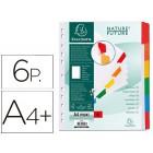 Separador exacompta cartolina branco conjunto de 6 separadores pestanas coloridas a4+ multiperfurado