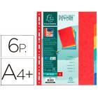 Separador exacompta cartolinaconjunto de 6 separadores de cores a4+ multiperfurado
