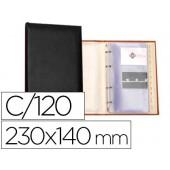 Porta-cartoes autograph 4 aneis 20 bolsas com indice alfabetico para 120 cartoes 230x140 mm cor preto
