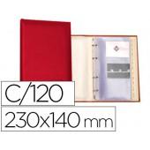 Porta-cartoes autograph 4 aneis 20 bolsas com indice alfabetico para 120 cartoes 230x140 mm cor vermelho