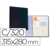 Porta-cartoes autograph 4 aneis 20 bolsas com indice alfabetico para 320 cartoes 315x280 mm cor preto