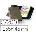 Porta cartões durable visifix 4 aneis 25 bolsas com indice alfabetico para 200 cartões visitas 57x90 mm cor castanho 255x145 mm