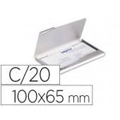 Porta cartões durable aluminio capacidade 20 cartões de visitas 55x90 mm cor prata 100x65 mm