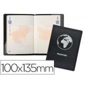 Funda pasaporte exacompta doble solapa negro 100x135 mm