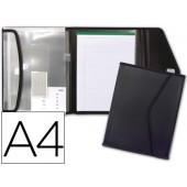 Pasta porfolio beautone porta documentos polipropileno com 5 bolsas e bloco de notas fecho de velcro din a-4 preto