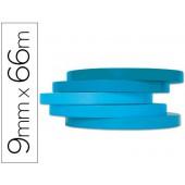 Fita adesiva q-connect 66m x 9mm azul para fechar sacos