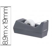 Portarolos secretaria scotch cor cinza de 19mm x8.9 mtinclui rolo de fita magic