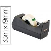 Porta rolo secretaria scotch c38 preto inclui 3 rolos de fita scotch magic 33 mt x 19 mm
