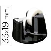 Desenrolador de secretaria tesa plastico redondo preto para rolos de ate 33mx19mm