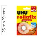 Uhu rollafix transparente c/ dispenser 19mm x 25m