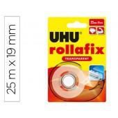 Uhu rollafix transparente c/ dispenser 19mm x 25m