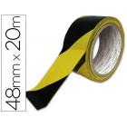 Fita adesiva q-connect de seguranca amarela preta 20mtx48mm