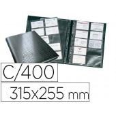 Porta cartões 4 aneis 20 bolsas com indice alfabetico para 400 cartões de visita 57x90 preto 315x255 mm