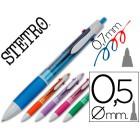 Esferografica stetro 3 en 1 azul vermelho 0.7mm + lapiseiras 0.5mm -corpo cores sortidas