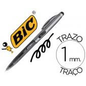 Esferográfica bic cristal stylus 2 em 1 com ponteiro para visor retratiltinta a oleo 1 mm cor preto