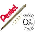 Esferografica roller metalica pentel bg 208 dourada 0.4 mmideal para papel e madeirasuave secagem rapida