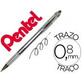 Esferografica roller metalica pentel bg 208 prateada 0.4 mm ideal para papel e madeira suave secagem rapida